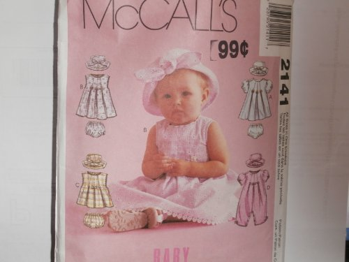 Mccall'S Sewing Pattern 2141 Baby Infant Dress Romper Hat Panties front-972727