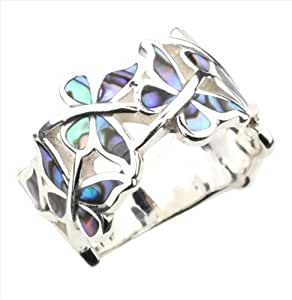 Abalone Paua Shell & 925 Sterling Silver Butterfly Ring