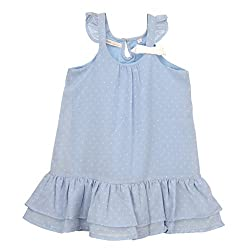 EIMOIE Girls Gathered Dress (Blue)