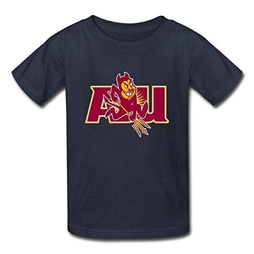 [Youth Retro Ring Spun Cotton NCAA Arizona State Sun Devils Logo T-Shirt Black US Size S] (Barack Obama Face Mask)