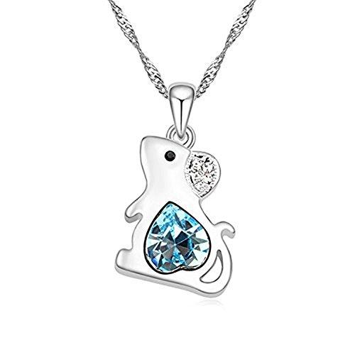 Kangkang Fashion Austrian Crystal Beautiful Lovely Pendant Necklace -Zodiac rat mouse shape