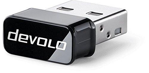 Devolo Clé USB WiFi AC (433Mbit/s, ruban de 5GHz, Petite Forme de Construction,, pour connecteur USB, antenne intégrée avec bouton WPS compatible PC et Mac, design compact Noir