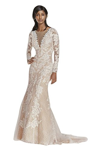 Lace Wedding Dress Long Sleeve Sheath with Illusion V-Neckline Style SWG719,...