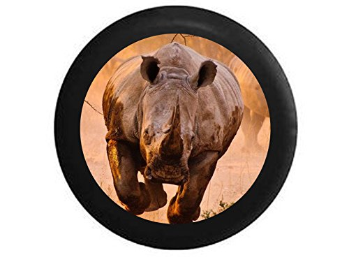 Full Color Charging African Grey and Black Rhino Spare Tire Cover Black 35 in (Rhino Tire Cover compare prices)
