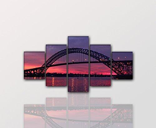 Bayonne-Bridge-5teiliger-Impression-dart-160-x-80-cm-moderne-Dcoration--petit-prix-Fabriqu-en-Allemagne