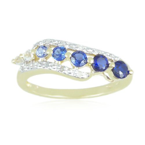 10k Yellow Gold Shades of Created Sapphire and Diamond-Accented Journey Ring, Size 6