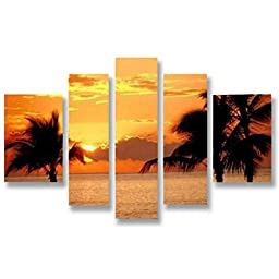 Neron Art - Handpainted Landscape Oil Painting on Gallery Wrapped Canvas Group of 5 pieces - Krefeld 40X32 inch (102X81 cm)