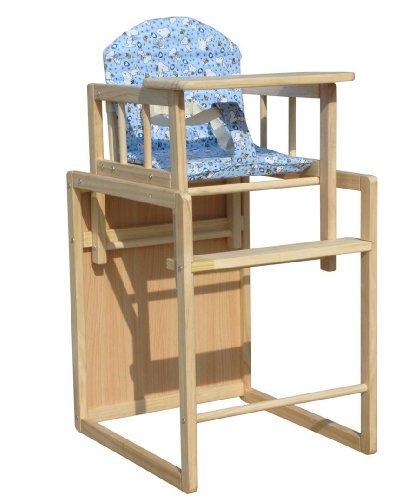 FoxHunter Baby Hochstuhl Hochstuhl Fütterung Sitz Tisch 2 In 1 einstellbare Holz Polster blau neu