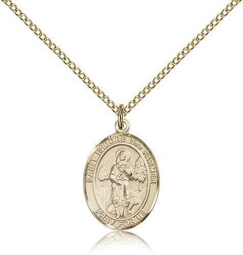 Genuine IceCarats Designer Jewelry Gift Gold Filled St. Isidore The Farmer Pendant 3/4 X 1/2 Inch With 18 Inch Gold Filled Lite Curb Chain. Made In Usa.