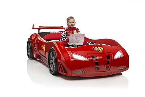 Jugendbett-Renwagenbett-Autobett-Kinderbett-Redcar-mit-Lattenrost-und-Spoiler