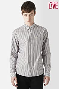 L!VE Long Sleeve Button Down Oxford Stripe Woven Shirt