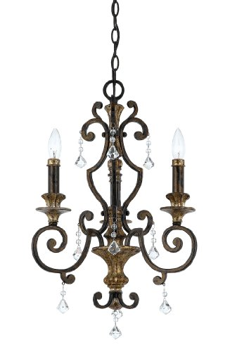 B001R5DV0S Quoizel MQ5003HL Marquette 3-Light Chandelier with Multifaceted Crystal Drops, Heirloom