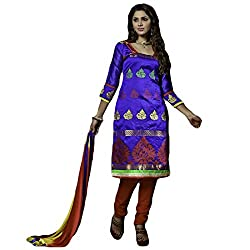 Typify Women's Chanderi Unstitched Dress Material (TYPIFY215_Multicolor_Free Size)