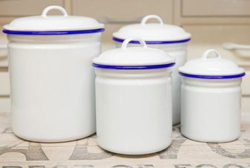 Canister Set, Vintage White With Blue Rim