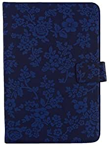 Emartbuy® Universal Range Blue Vintage Floral Multi Angle Executive Folio Wallet Case Cover For Swipe Halo Value Plus 7 Inch Tablet