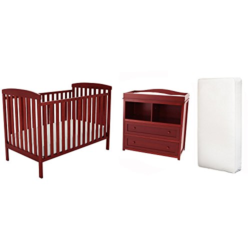 Afg Langley Crib, Changer Set And Deluxe Mattress - Cherry