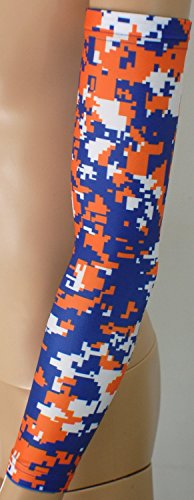 Nexxgen Sports Apparel Moisture Wicking Compression Arm Sleeve (Single) - Men, Women & Youth - 40 Colors - Digital Camo & Elite (Youth Large, Royal Blue/Orange/White)