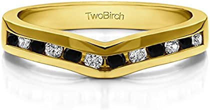 14k Gold Classic Contour Wedding Ring with Black And White Diamonds 1 ct twt