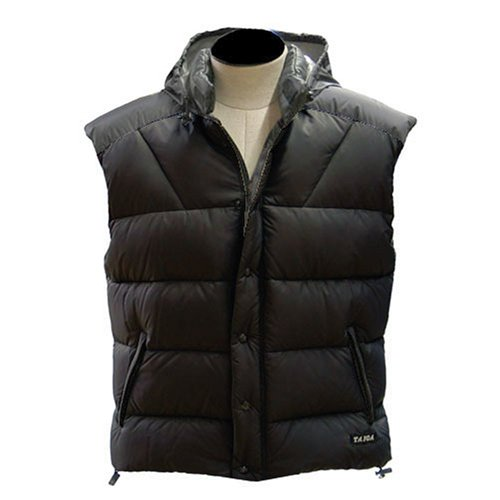 TAIGA Blackcomb 800 Deluxe - Men's Goose Down Vests with a hide-away Hood, Black, MADE IN CANADA