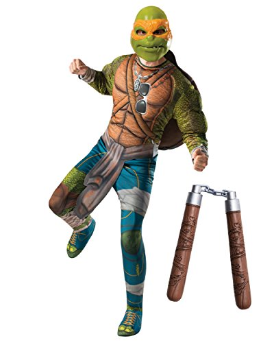 Mens Deluxe Teenage Mutant Ninja Turtles Movie Michelangelo Costume Bundle