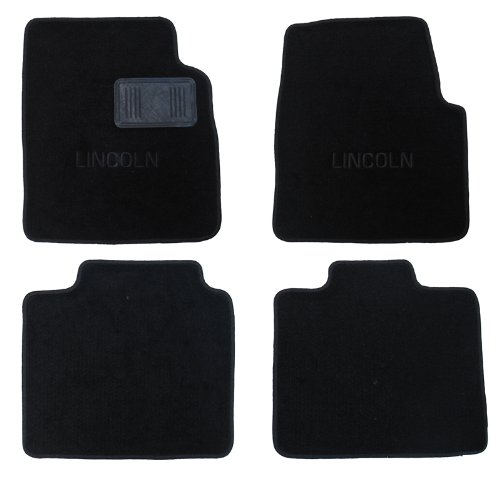 2002 Lincoln Blackwood OEM *BLACK* Floor Carpet Mats Matting (Two Piece Front and Two Piece Rear Mats) with LINCOLN Embroidery Monogram – comes with driver side protective heel pad