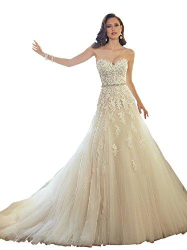 747d303321 Elley Women s Sweetheart Applique Bodice Strapless Tulle Wedding Dress for  Bride Light White US2