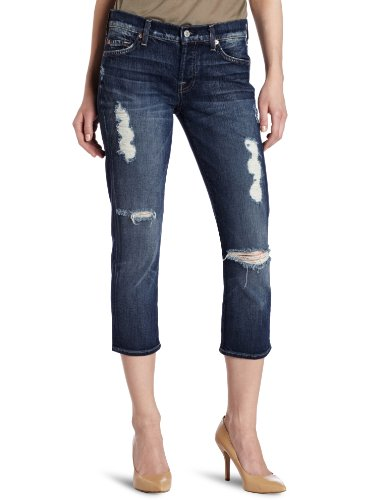 7 For All Mankind Women's Crop Josefina Boyfriend Jean in Medium Destroyed Morrea