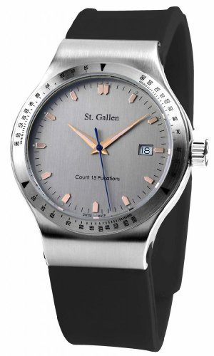 St. Gallen Disinfectable Watch - Sauberkeit Collection - Quartz Watch, Counter For Pulsation Calibration, Brush Polishing Palladium Dial