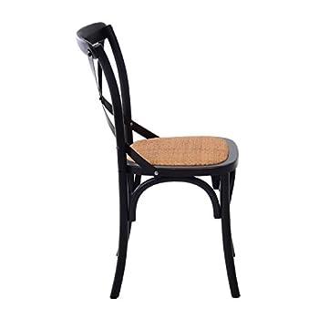HomCom Vintage-Style X Back Elm Wood Dining Chair - Set of 2 (Black)