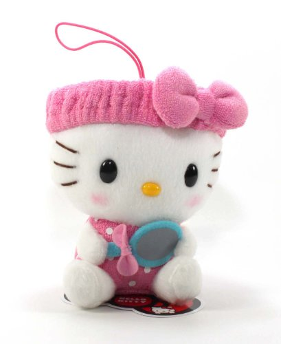 "Eikoh Hello Kitty Fresh Bath Time Plush Strap - 5"" Pink Mirror"