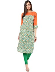 MEIRO Boat Neck Kurti With Solid Yoke, Designed In NYC