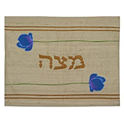 Raw Silk Brown Passover Pesach Matzah Cover with Blue Decorative Flowers Design