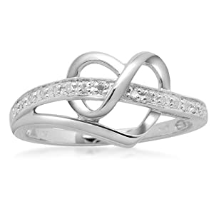 Sterling Silver Diamond Heart Ring (1/20 cttw, I-J Color, I3 Clarity), Size 6