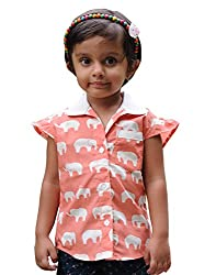 Snowflakes Girls' 3 - 4 Years Cotton Casual Shirt (Orange and Off-White)