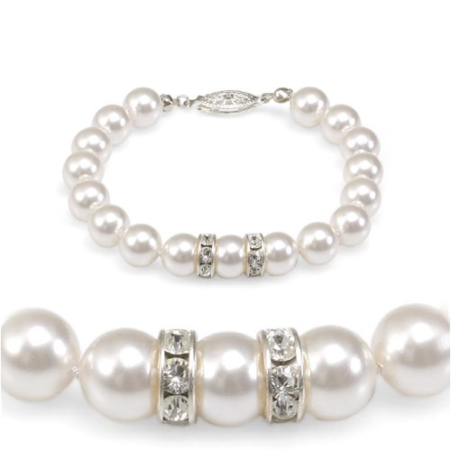 Genuine Swarovski Crystal Pearl Bracelet with Rondelle - White (8mm)
