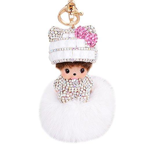 womens-kids-lovely-wool-hat-doll-crystal-diamond-keychain-keyrings-pearl-rhinestone-fur-ball-pompoms