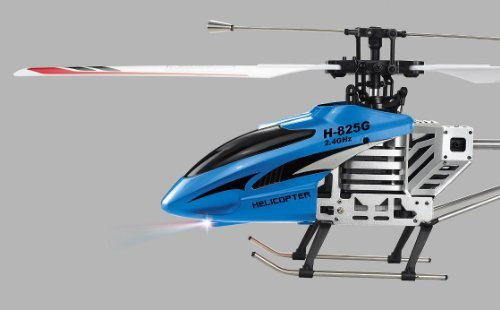 Haktoys H-825G 4 Channel 24 Ghz 156 Medium Size Metal Single Blade Rechargeable RC RTF Helicopter with Gyroscope - Colors May Vary Blue or Orange