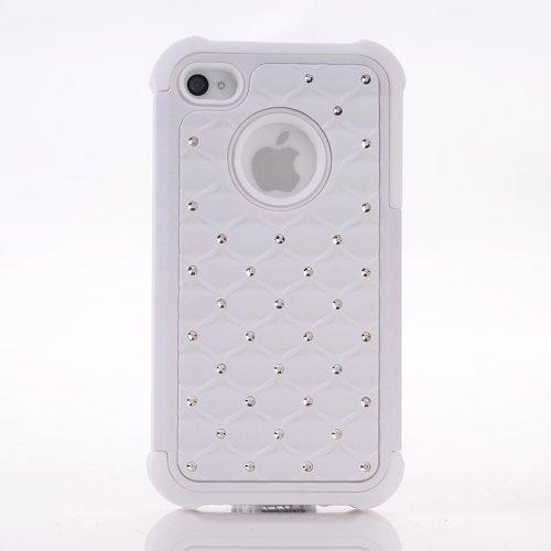 Meaci® Iphone 4 4S Case 2 In 1 Combo Hybrid Case Glitter/Bling Studded Diamond Dual Layer Pc&Silicone Protective Case 1X Diamond Anti-Dust Plug Stopper(Random Color) (White)