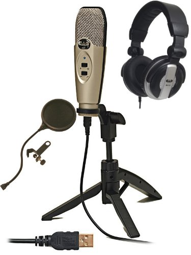 Cad U37 Usb Microphone Bundle With Studio Headphones And Pop Filter Popper Stopper