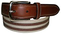 IZOD Tan Canvas & Leather Inlay Belt TAN 36