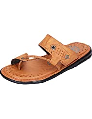 DATZZ Men's Tan Denim Sandals - B018U64NGM