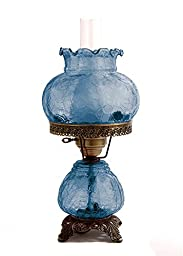 19 in. Crackle Hurricane Table Lamp w 8 in. Student Shade
