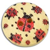 20 Ladybird Print 2 Holes Round Wooden Buttons, for Sewing, Scrapbooking, Embelishments, Crafts, Jewellery making, shabby chic, Knitting, 18mm