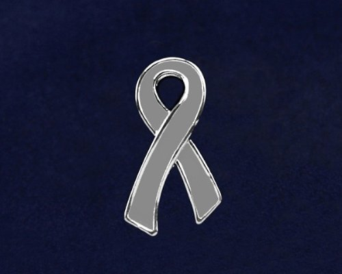 Gray Ribbon Pin- Large Flat Gray Ribbon Pin (50 Pins)
