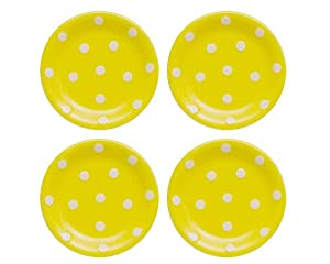 Terramoto Ceramic Polka Dots 6-Inch Accent Dish, White on Yellow, Set of 4