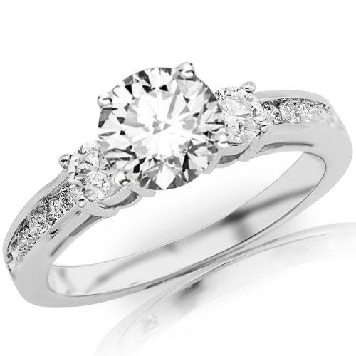 Best Price 1.12 Carat Round Cut/Shape 14K White Gold Channel Set 3 Three Stone Diamond ...