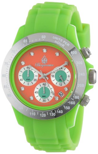 Burgmeister Florida Women's Quartz Watch with Orange Dial Chronograph Display and Green Silicone Strap BM514-990E