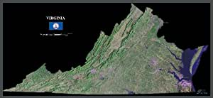 """virginia from space satellite map, print, poster, photo: 40"""" x 18.5"""" Glossy"""