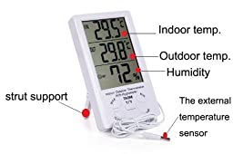 BestFire® New Durable Large LCD Digital Display Max-min Temperature Humidity Meter Thermometer Hygrometer Indoor / Outdoor With Min/ Max And Clock with 1.5m Sensor Wire TA-298 (White)