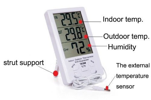 BestFire® New Durable Large LCD Digital Display Max-min Temperature Humidity Meter Thermometer Hygrometer Indoor / Outdoor With Min/ Max And Clock with 1.5m Sensor Wire TA-298 (White) - 1